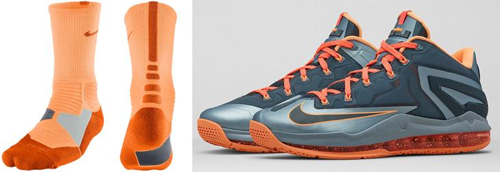 separation shoes e0a8f 5baf5 Nike LeBron 11 Low Lava Magnet Grey Socks   SportFits.com