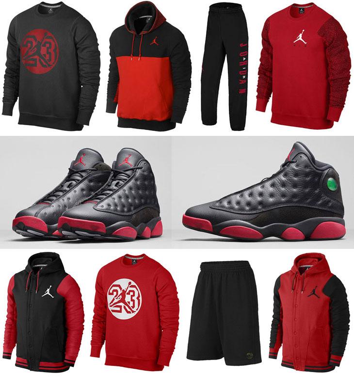 Air Jordan 13 Black Gym Red Clothing Apparel | SportFits.com