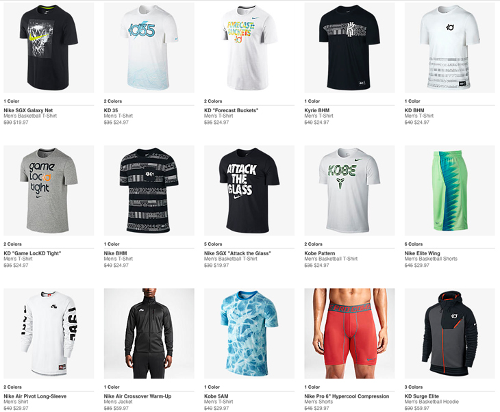nike apparel clearance