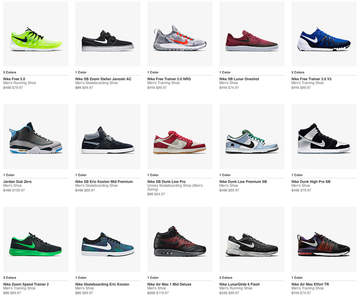 clearance on nike shoes