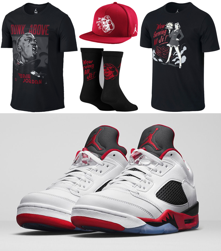 Air Jordan 5 Low Fire Red Clothing Shirts Hats And Socks
