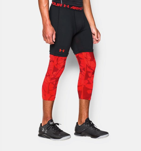 Under Armour Stephen Curry Compression Leggings Red Black | SportFits.com