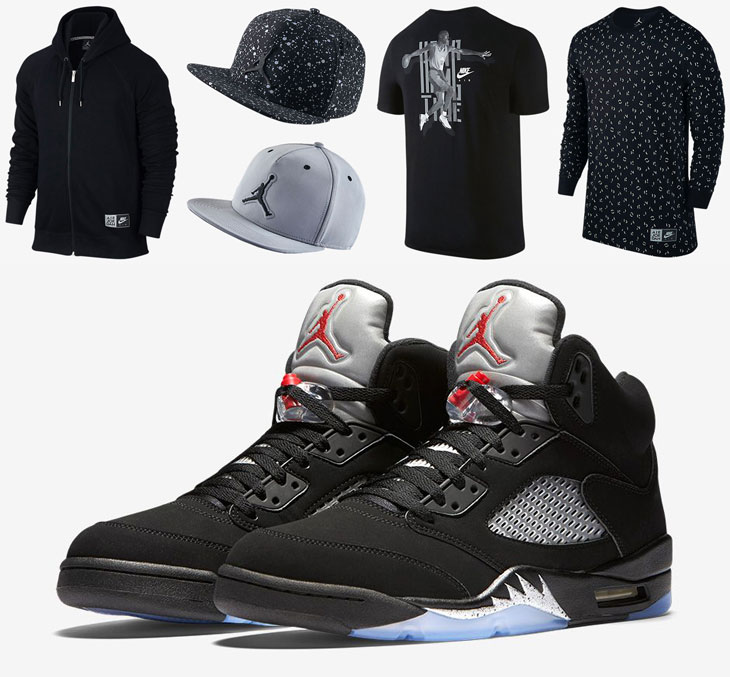 Air Jordan 5 Black Metallic Silver Clothing | SportFits.com