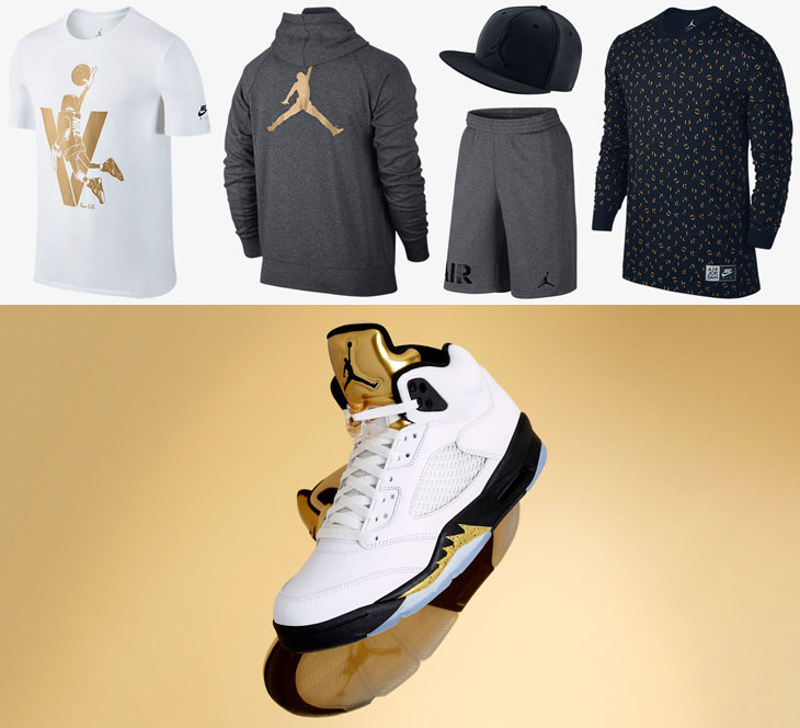 Air Jordan 5 Metallic Gold Tongue Clothing   SportFits.com