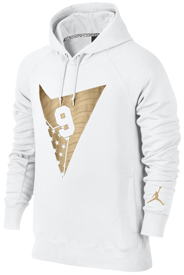 "sports shoes 86cd2 2d0f9 ... Air Jordan 7 ""Olympic Alternate"" Pullover Hoodie (White Metallic Gold)  ..."